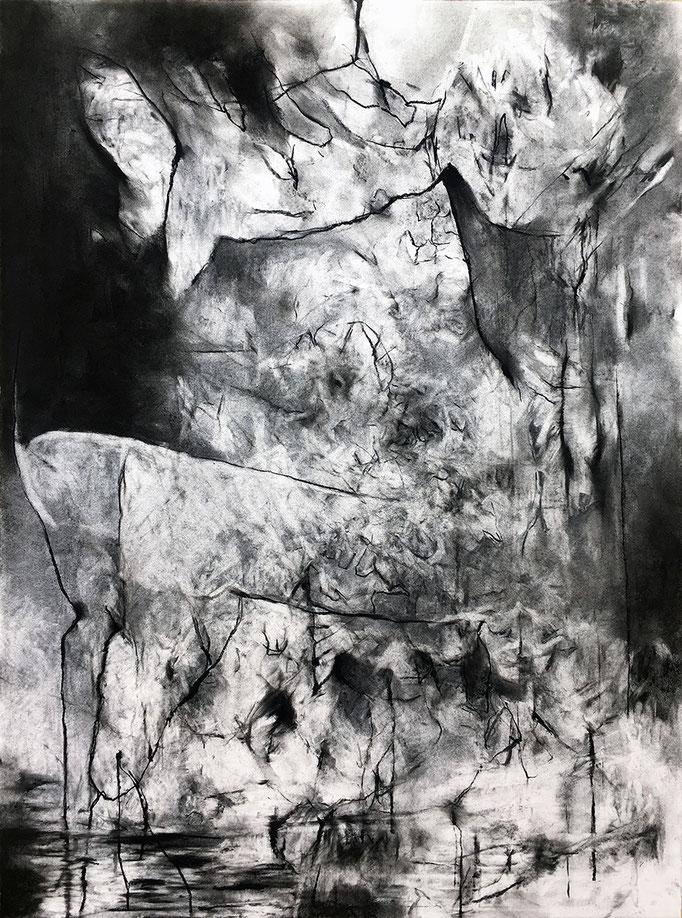 Le Trésor de Guerre II - fusain sur papier - 77 x 57 cm - 2020