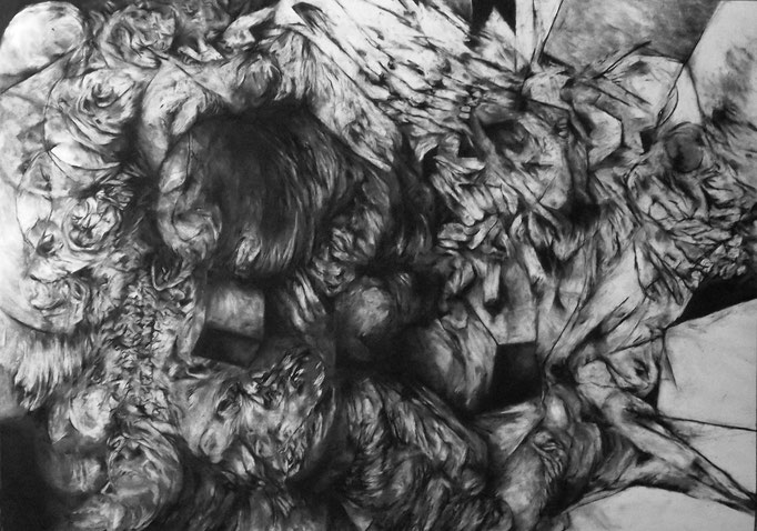 Inversion - fusain sur papier - 100 x 70 cm - 2015