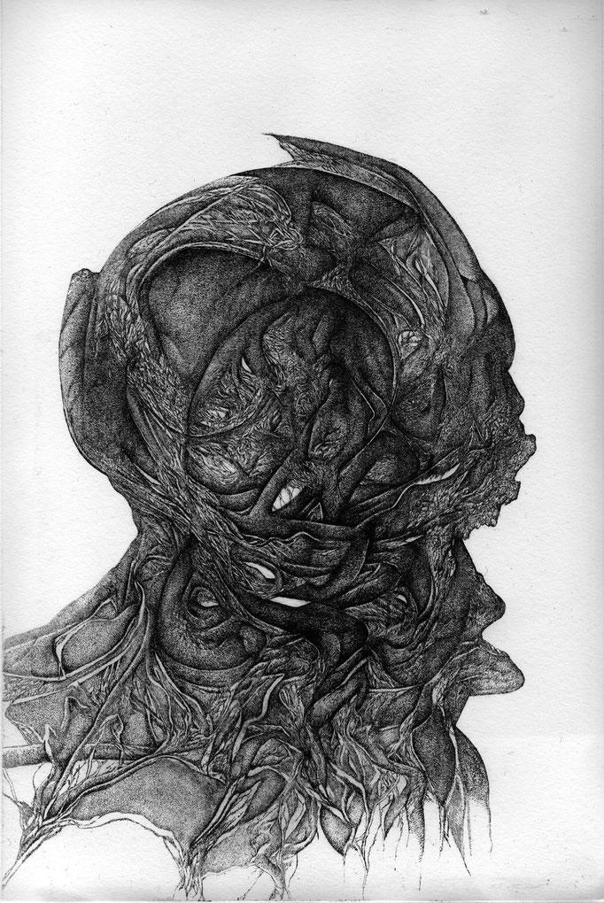 Les Cendres -eau forte - 30 x 20 cm - 2014