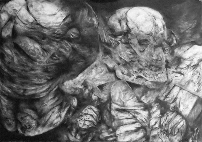 Répartition - fusain sur papier - 70 x 100 cm - 2015