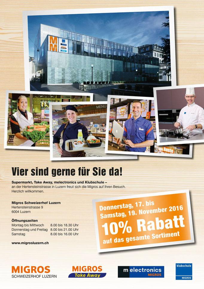 Broschüre zu Gesamteröffnung Migros Schweizerhof Luzern