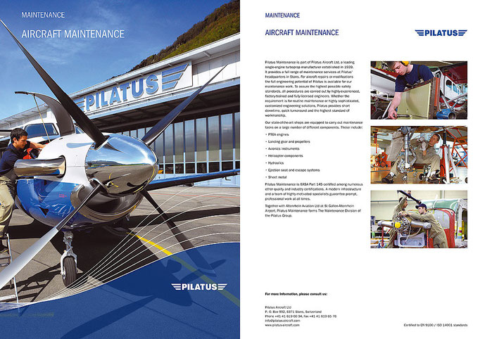 Pilatus Aircraft Ltd.: Maintenance Broschüre 2009