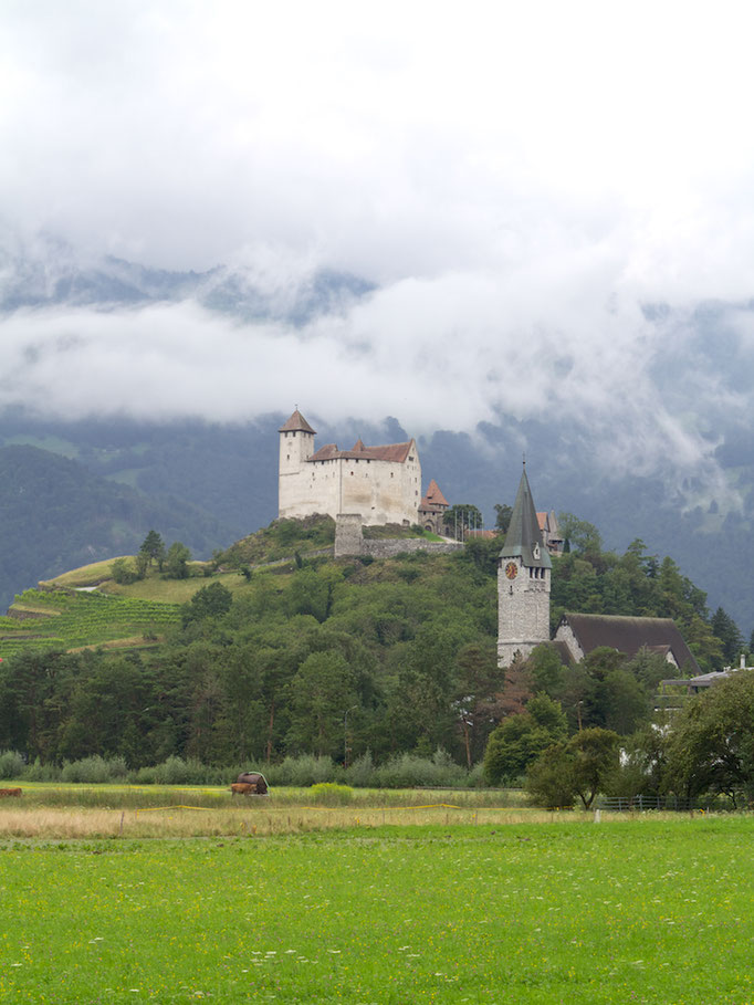 Castle Gutenburg and Church, Fürstentum Liechtenstein