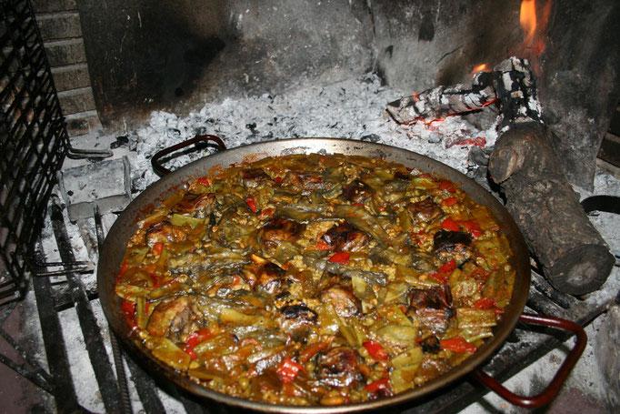Paella de verduras.