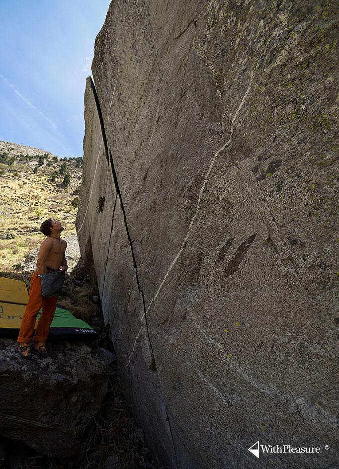 Der schönste Riss im Val Cristallina, bestaund und begangen von Ramun...