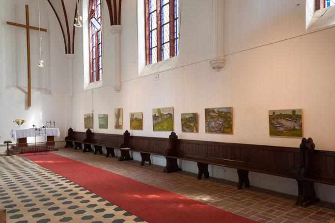 """""""Usedomer Landschaften"""", Acryl, Kasein bzw. Eitempra auf Hartfaser, Skulpturen Metall Peter Glas"""