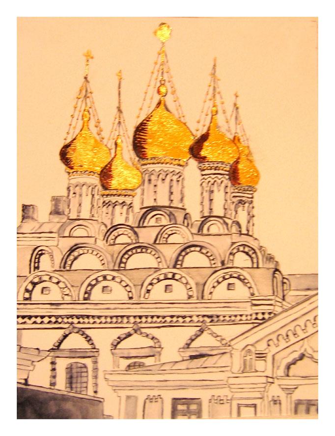 Tusche mit Blattgold: Russisches Kloster