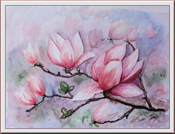 Aquarell: Magnolie auf Aquarellpapier 20x 30 cm