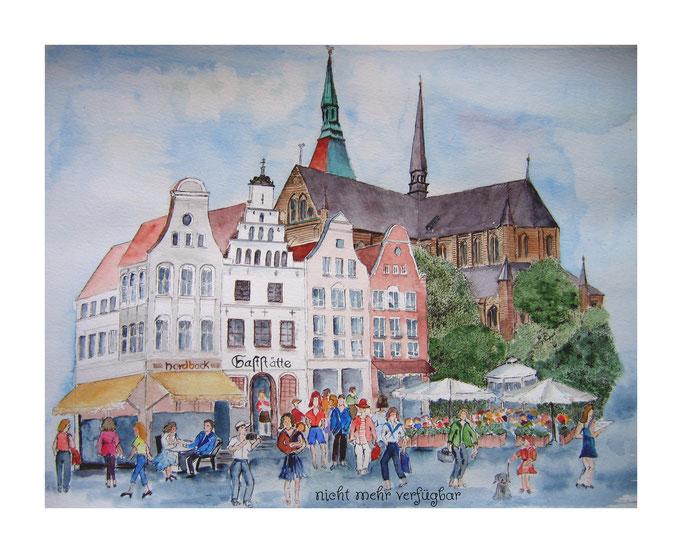 Aquarell: Marienkirche mit Markt in Rostock