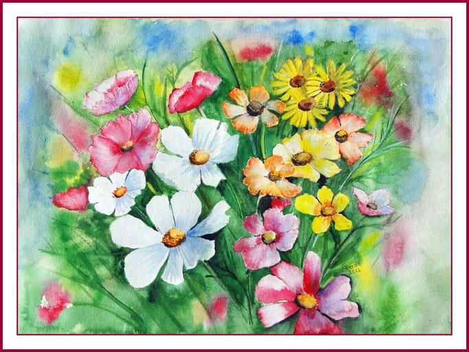 Aquarell: Blütenkomposition 25x 35 cm