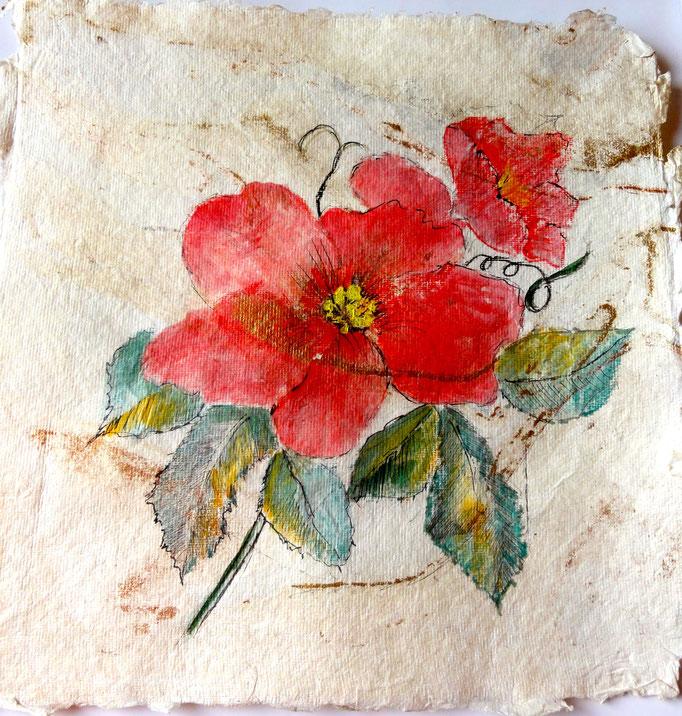 Aquarell: Blüte aus handgeschöpften Papier, 20 x 20 cm