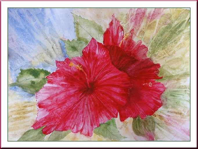 Aquarell: Hibiskus, 20x 30 cm