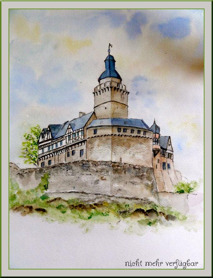 Aquarell: Burg Falkenstein im Harz /verkauft