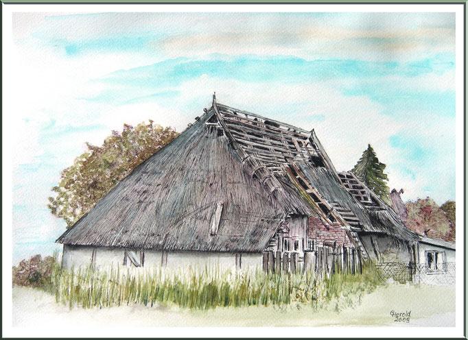 Aquarell: Alte zusammengefallene Scheune im Dorf Gross-Klein