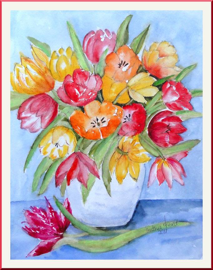 Aquarell: Tulpen in Vase, 20x 30 cm