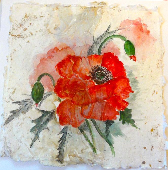 Aquarell: Blüte auf handgeschöpften Papier 20x 20 cm