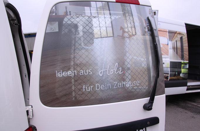 Fahrzeugbeschriftung Caddy mit durchsichtige Rückscheibe für Tenhumberg Coesfeld