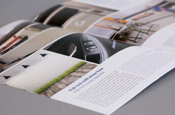 Unternehmens- Imagebroschüre: Gesamtkonzeption, Design, Storyboard für Fotograf, Textvorgabe Redakteur, Koordination Übersetzungsbüro.