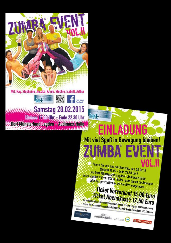 Flyer für Zumba Event. Gestaltung/Design der Eventbewerbung
