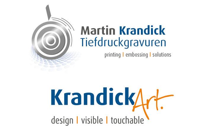 Unternehmenslogo Relaunch. Neues Logo Krandick Art + Claim entwickelt