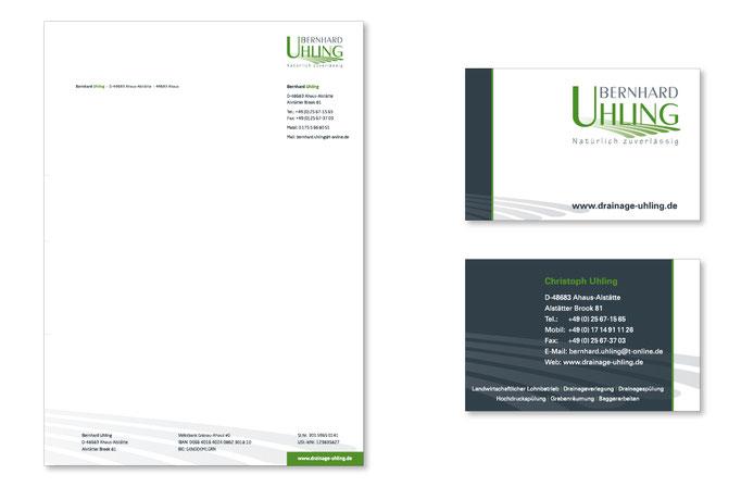 Visitenkarten und Briefpapier im Unternehmens - CI