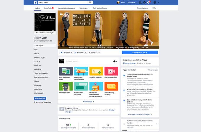 Moderation und wöchentliche Aktualisierung der Perrty Mom Facebook-Unternehmensseite