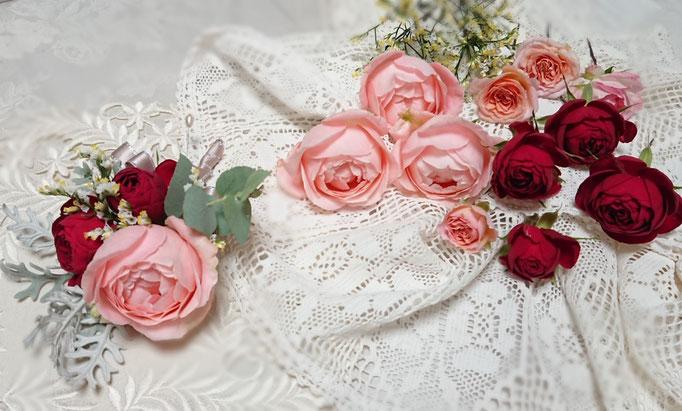 W-8 生花ブートニア、ヘッドドレス