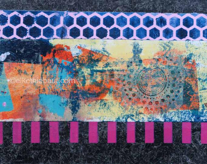 Abstrait N° 65/2017 Acrylique et collages de papiers peints à l'acrylique sur papier Fabriano 400 grammes, recouvert de gesso