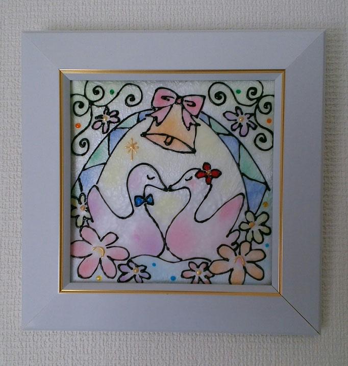 """パステルステンドグラスアート/オリジナル作品""""白鳥の結婚"""""""