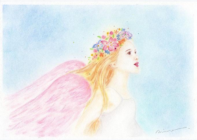 天使画/きれい系天使(横顔の天使さん)