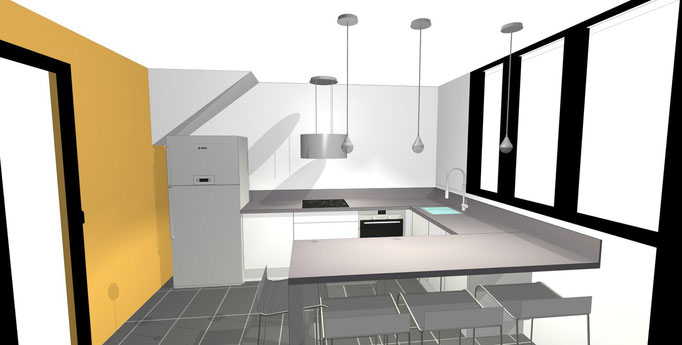 perspective 3D d'une cuisine contemporaine design
