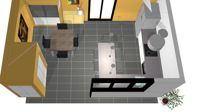 vue plongeante d'une cuisine design avant réalisation