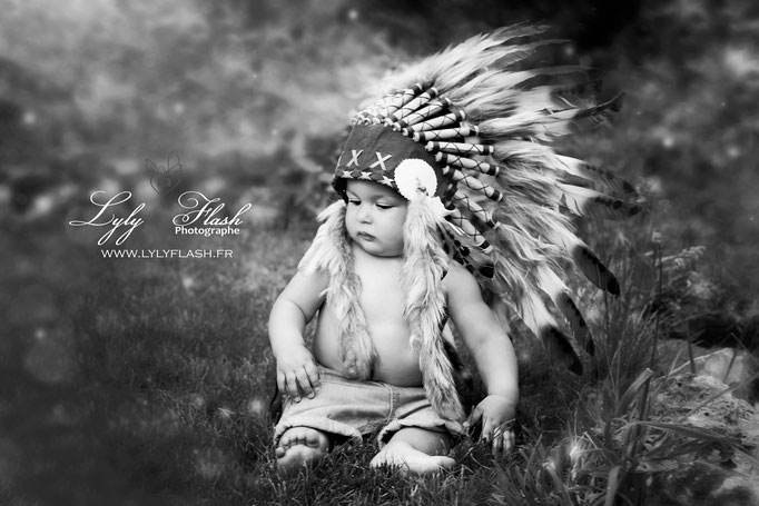 photographe Cannes photo bébé portrait d'art en studio nature noir et blanc indien exterieur