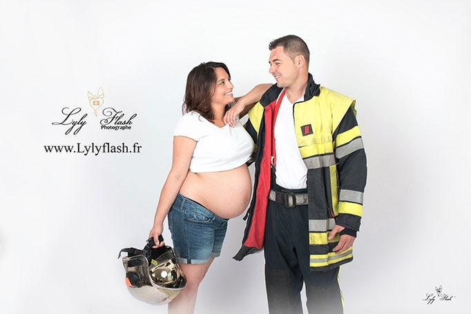 photographe pompier grossesse