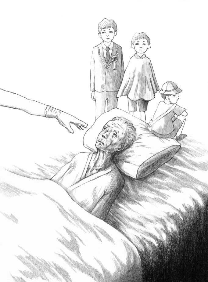 『老園の仔』久坂部羊著 KADOKAWA 小説野性時代 連載扉絵 2018  2月号