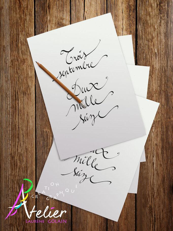 Calligraphie à la main - Carte date importante (papier blanc A4)