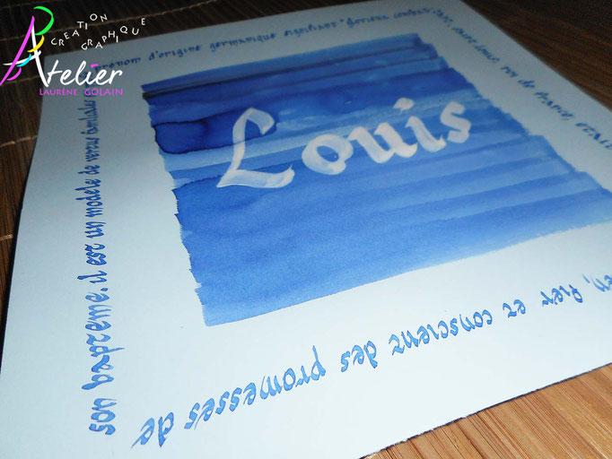 Calligraphie à la main - Carte prénom (papier bleu clair 20 x 20)