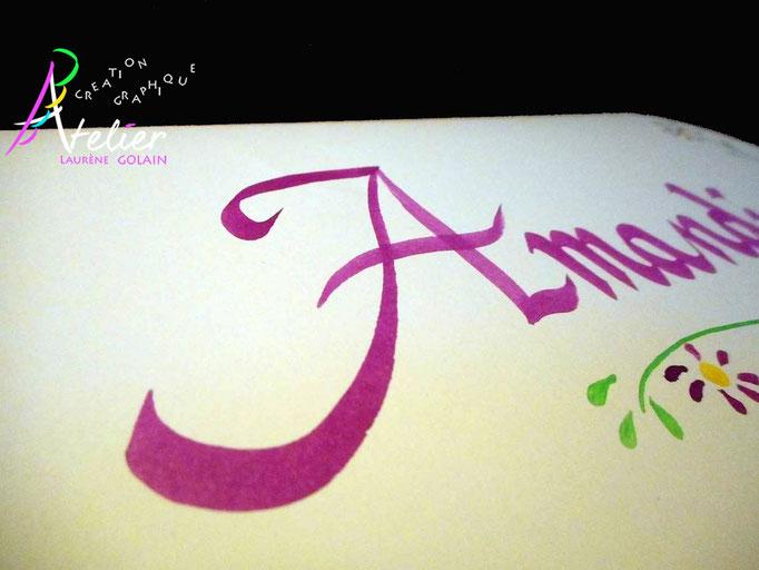 Calligraphie à la main - Carte prénom (papier crème A5)