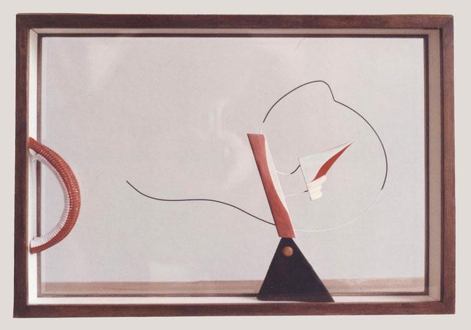 ENFRENTAMIENTO 1. 1987. 45 x 35 x 8 cm. Wood and wire.