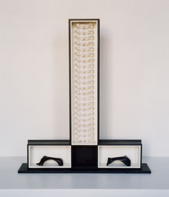 EVOLUCIÓN. 2003. 107 x 93 x 22 cm. Wood and plaster.