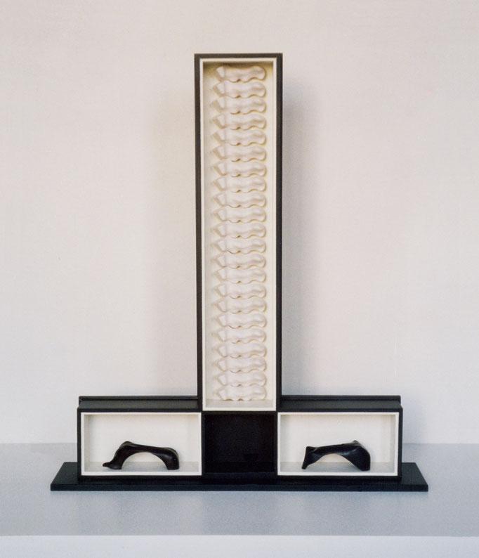 EVOLUCIÓN. 2003. 107 x 93 x 22 cm. Madera y yeso.