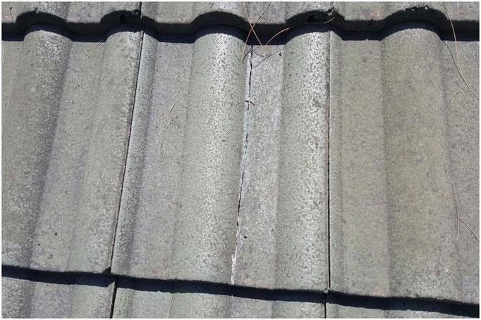 Crack concrete roof tile