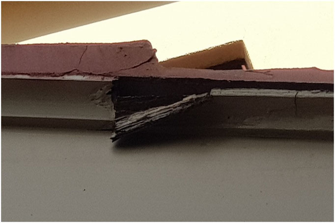 Rotten cornice of pitch roof