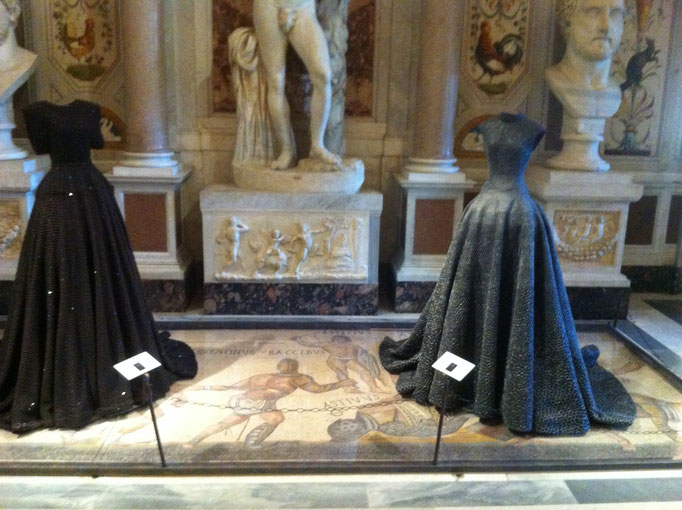 "Azzedine Alaïa's ""Couture/Sculpture"" on buried Roman mosaics, Galleria Borghese, photo: Maike Aden"