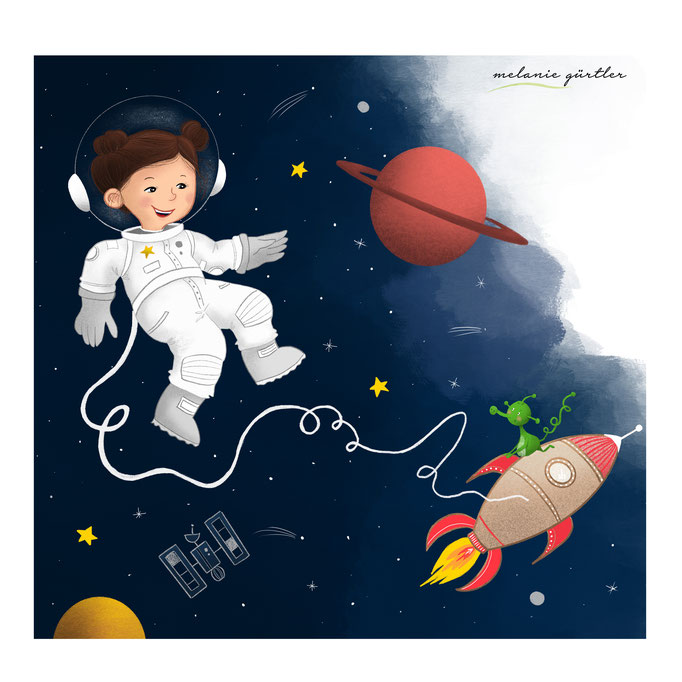 Illustration Kinderbuch Astronaut
