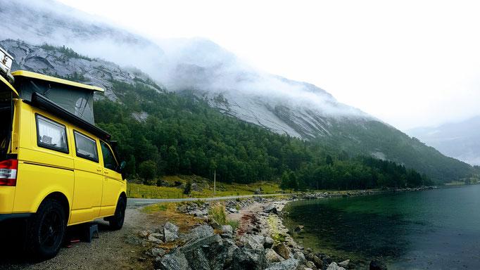 Übernachtungsplatz mit Blick auf den Eidfjord