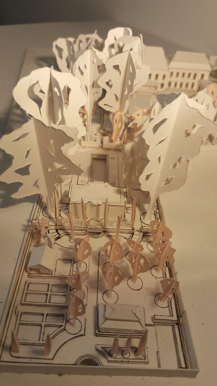 Etudes aménagement du parc de la Villa Trianon, réalisation Hervé Arnoul .Prémaquette.