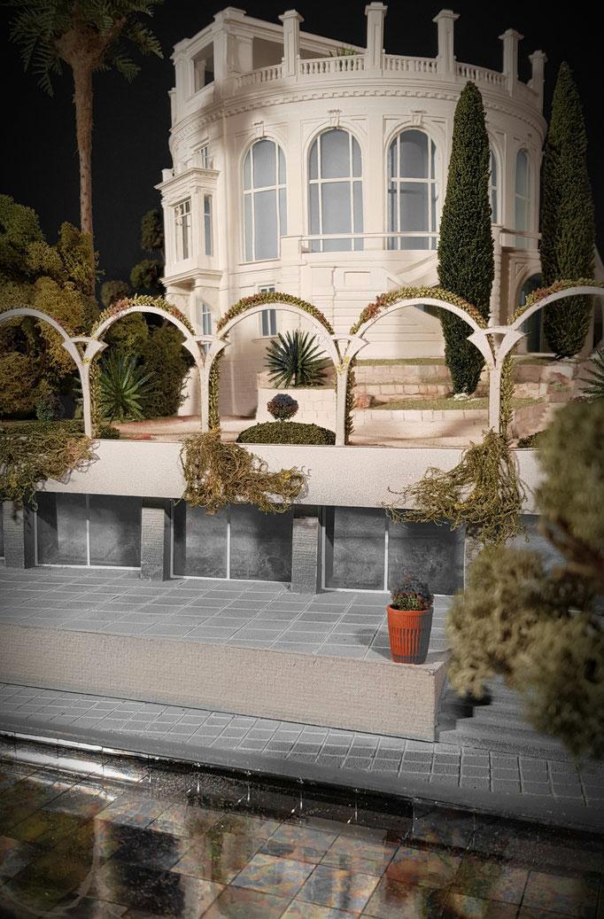 Maquette patrimoniale 1/50 e de la Vigie au Cap Ferrat, et  incorporation du grand escalier. Réalisation et photographies Hervé Arnoul.