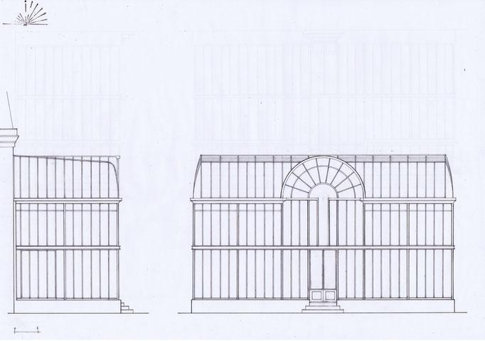 Etudes aménagement du parc de la Villa Trianon, réalisation Hervé Arnoul .Elevation serre.