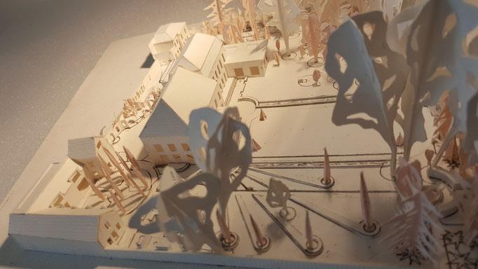 Etudes aménagement du parc de la Villa Trianon, réalisation Hervé Arnoul.Prémaquette.